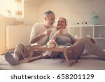 senior couple in bed. senior... | Shutterstock . vector #658201129