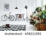 black and white room with... | Shutterstock . vector #658211581