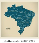 modern map   brazil with... | Shutterstock .eps vector #658212925