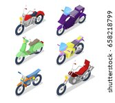 isometric motorcycle set with... | Shutterstock .eps vector #658218799