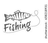 fishing logo isolated on a dark ... | Shutterstock .eps vector #658218931
