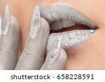 fashion art silver skin woman... | Shutterstock . vector #658228591