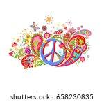 psychedelic print with hippie... | Shutterstock .eps vector #658230835