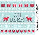 oh deer pattern  christmas... | Shutterstock .eps vector #658237039