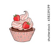 hand drawn cupcake. sweet... | Shutterstock .eps vector #658239199