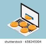 mining bitcoin from laptop ... | Shutterstock .eps vector #658245304