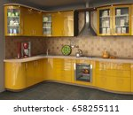 big bright kitchen with oven | Shutterstock . vector #658255111