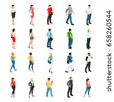 set of isometric people... | Shutterstock .eps vector #658260544