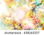 zodiac collage in cosmic space. ... | Shutterstock . vector #658265257