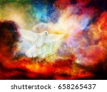 Dove In Cosmic Space. Painting...