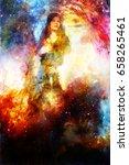 goddess woman holding cosmical... | Shutterstock . vector #658265461