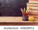 back to school background with... | Shutterstock . vector #658268911