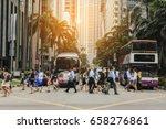 crow of people walking on zebra ... | Shutterstock . vector #658276861