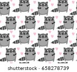 raccoon pattern design | Shutterstock .eps vector #658278739