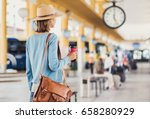 young woman traveler waiting... | Shutterstock . vector #658280929