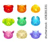 cute jelly animals faces.... | Shutterstock .eps vector #658281331