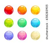 colorful glossy bubbles set.... | Shutterstock .eps vector #658283905