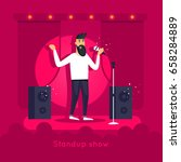 stand up show. guy is... | Shutterstock .eps vector #658284889