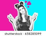 funny girl represents small cat ... | Shutterstock . vector #658285099