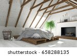 concept of attic bedroom with... | Shutterstock . vector #658288135