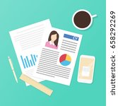 summary on the desk with coffee ... | Shutterstock .eps vector #658292269