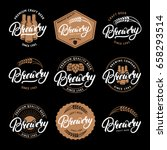 set of brewery hand written... | Shutterstock .eps vector #658293514