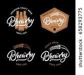 set of brewery hand written... | Shutterstock .eps vector #658293775