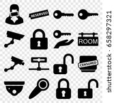 private icons set. set of 16... | Shutterstock .eps vector #658297321