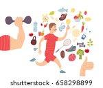running man. jogger. cardio... | Shutterstock .eps vector #658298899