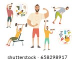 people workout with sports... | Shutterstock .eps vector #658298917
