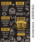vegan food menu for restaurant... | Shutterstock .eps vector #658301821