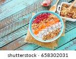 healthy breakfast smoothie... | Shutterstock . vector #658302031