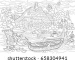 coloring book page of rural... | Shutterstock .eps vector #658304941