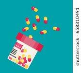 vector pill bottle with capsule ... | Shutterstock .eps vector #658310491