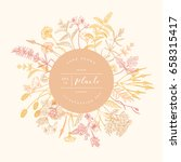 vector hand drawn floral round... | Shutterstock .eps vector #658315417