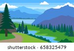 summer landscape with mountains ... | Shutterstock .eps vector #658325479