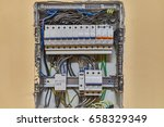 electric wiring and fusebox in... | Shutterstock . vector #658329349