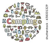 camping word with icons  ... | Shutterstock .eps vector #658331329