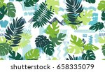 seamless pattern with tropical... | Shutterstock .eps vector #658335079