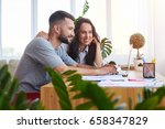 wide shot of nice man and woman ... | Shutterstock . vector #658347829