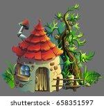 cartoon illustration of  gnome... | Shutterstock .eps vector #658351597