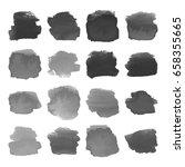 set of gray watercolor hand...   Shutterstock .eps vector #658355665