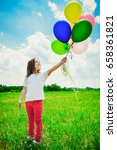 little girl with balloons in... | Shutterstock . vector #658361821
