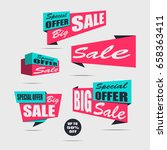 set of sale banners on a light... | Shutterstock .eps vector #658363411