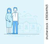 vector flat linear illustration ... | Shutterstock .eps vector #658364965