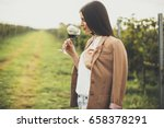pretty young woman tasting red... | Shutterstock . vector #658378291