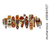 tribal mask ethnic set  sketch... | Shutterstock .eps vector #658381927