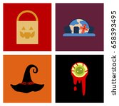 assembly flat icons halloween... | Shutterstock .eps vector #658393495