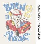 Stock vector cool little bear in cap driving a car cartoon hand drawn 658407049