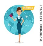 woman is standing and holding... | Shutterstock .eps vector #658407877